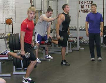 Lowdnes County football athletes building speed strength with single leg jump lunges